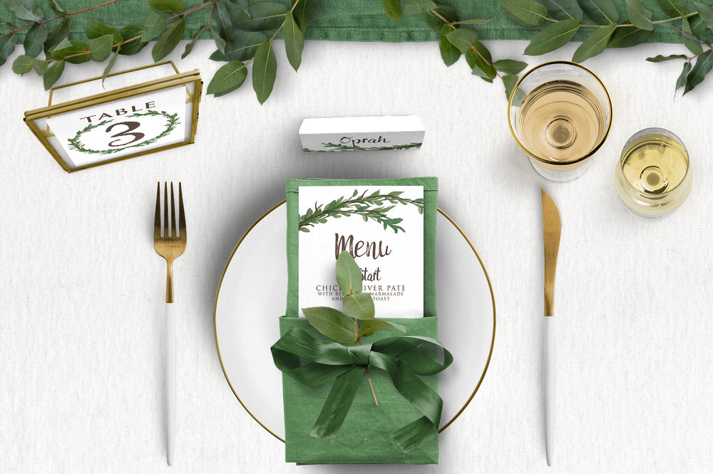 Leafy Botanical Tablescape - leaf green painted garden greenery wedding stationery place setting menu card table number uk - Hawthorne and Ivory