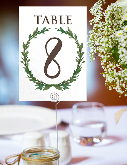 Leafy Botanical Table Number - leaf green painted garden greenery wedding stationery suite uk - Hawthorne and Ivory