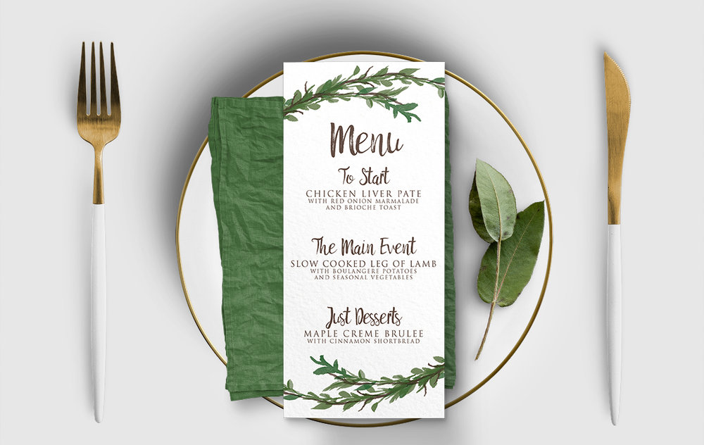 Leafy Botanical Menu - leaf green painted garden greenery wedding stationery suite uk - Hawthorne and Ivory