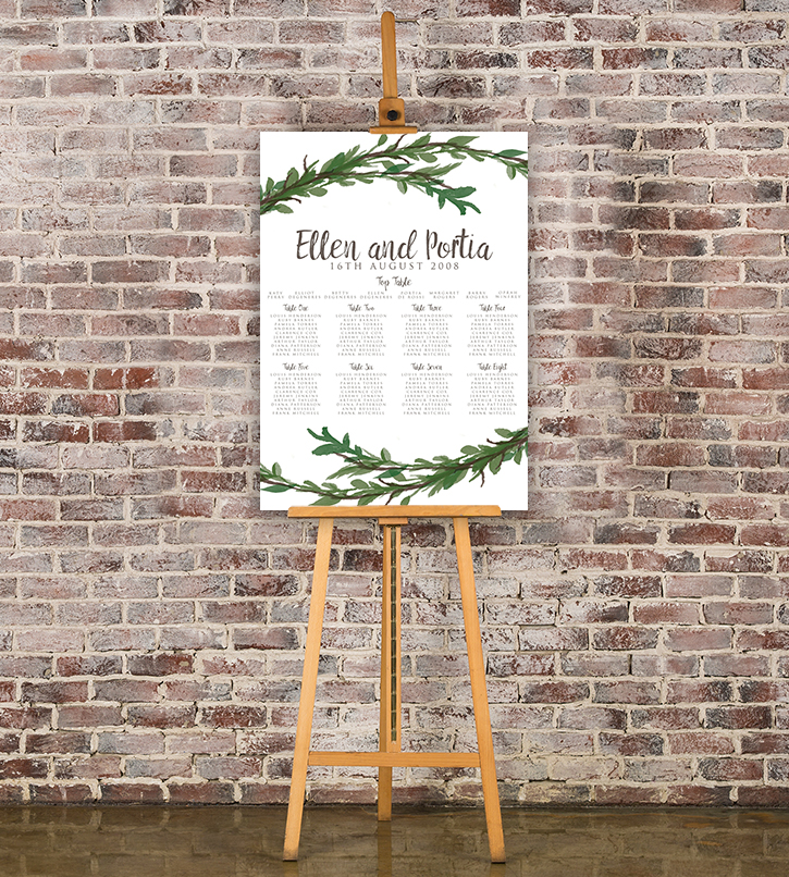 Leafy Botanical Table Plan - leaf green painted garden greenery wedding stationery seating chart uk - Hawthorne and Ivory