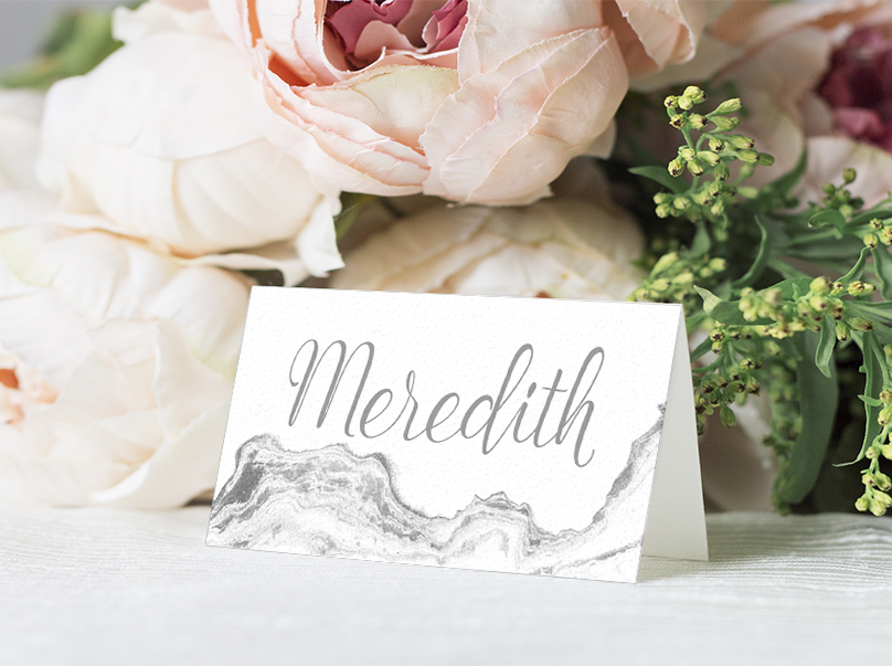 Marble Elegance Placecard - grey silver watercolour marble texture wedding stationery suite uk - Hawthorne and Ivory
