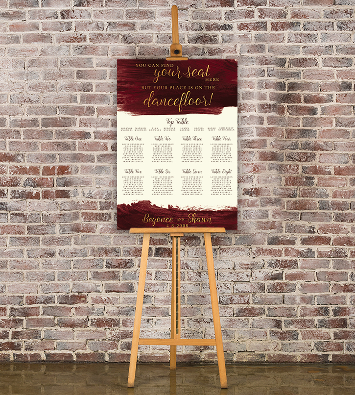 Marsala Wine Table Plan - burgundy red watercolour gold copper wedding stationery seating chart uk - Hawthorne and Ivory