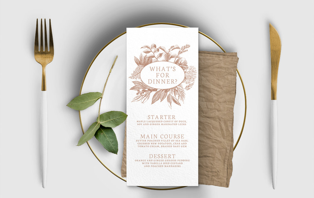 Nude Classic Menu - vintage beige neutral floral wedding stationery suite uk - Hawthorne and Ivory