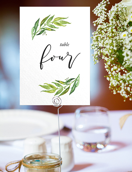 Olive Branch Table Number - greenery watercolour leaf greek wedding wedding stationery suite uk - Hawthorne and Ivory
