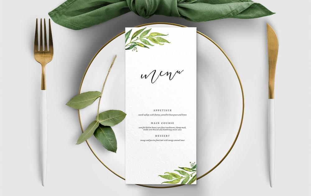 Olive Branch Menu - greenery watercolour leaf greek wedding wedding stationery suite uk - Hawthorne and Ivory
