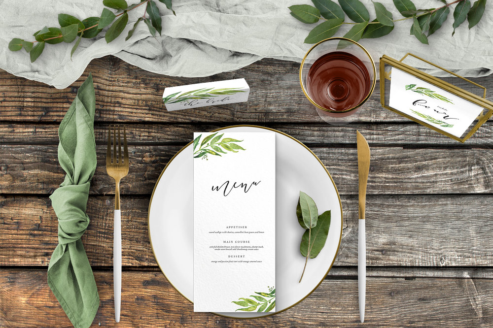 Olive Branch Tablescape - greenery watercolour leaf greek wedding wedding stationery place setting menu card table number uk - Hawthorne and Ivory