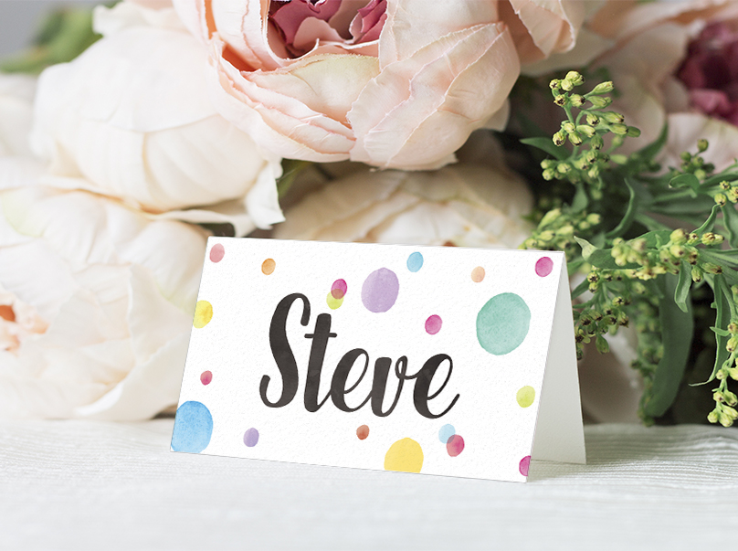 Rainbow Drops Placecard - colourful watercolour painted polka dot wedding wedding stationery suite uk - Hawthorne and Ivory