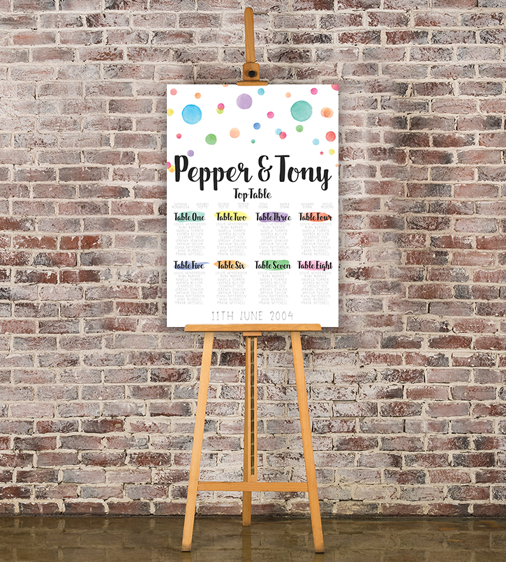 Rainbow Drops Table Plan - colourful watercolour painted polka dot wedding wedding stationery seating chart uk - Hawthorne and Ivory