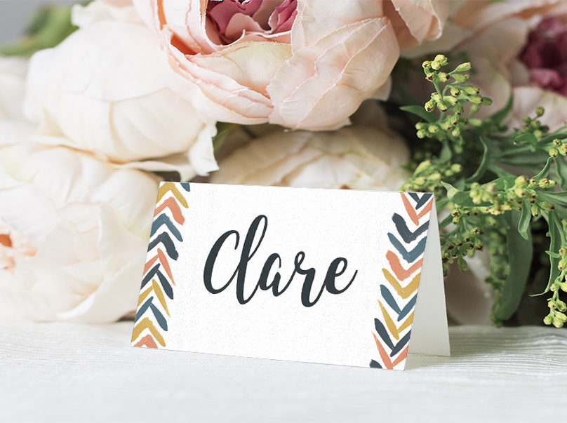 Retro Chic Placecard - painted chevron modern mustard slate blue coral peach wedding wedding stationery suite uk - Hawthorne and Ivory