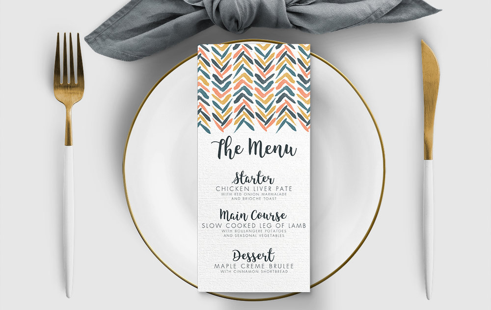 Retro Chic Menu Card - painted chevron modern mustard slate blue coral peach wedding wedding stationery suite uk - Hawthorne and Ivory