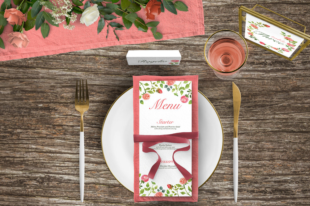 Rose Bush Tablescape - peach pink roses watercolour wedding wedding stationery place setting menu card table number uk - Hawthorne and Ivory