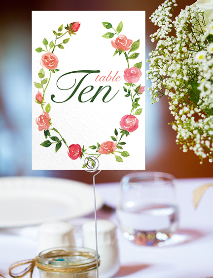 Rose Bush Table Number - peach pink roses watercolour wedding wedding stationery suite uk - Hawthorne and Ivory