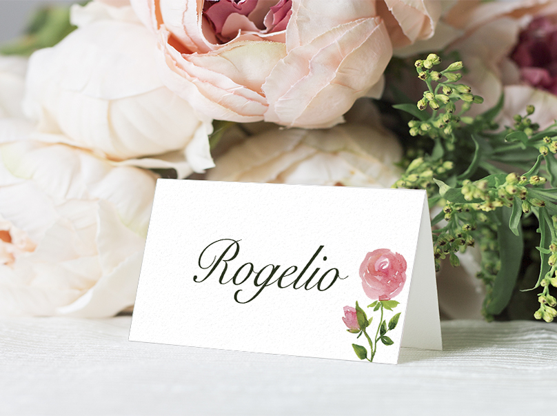 Rose Bush Placecard - peach pink roses watercolour wedding wedding stationery suite uk - Hawthorne and Ivory