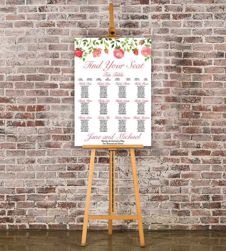 Rose Bush Table Plan - peach pink roses watercolour wedding wedding stationery seating chart uk - Hawthorne and Ivory