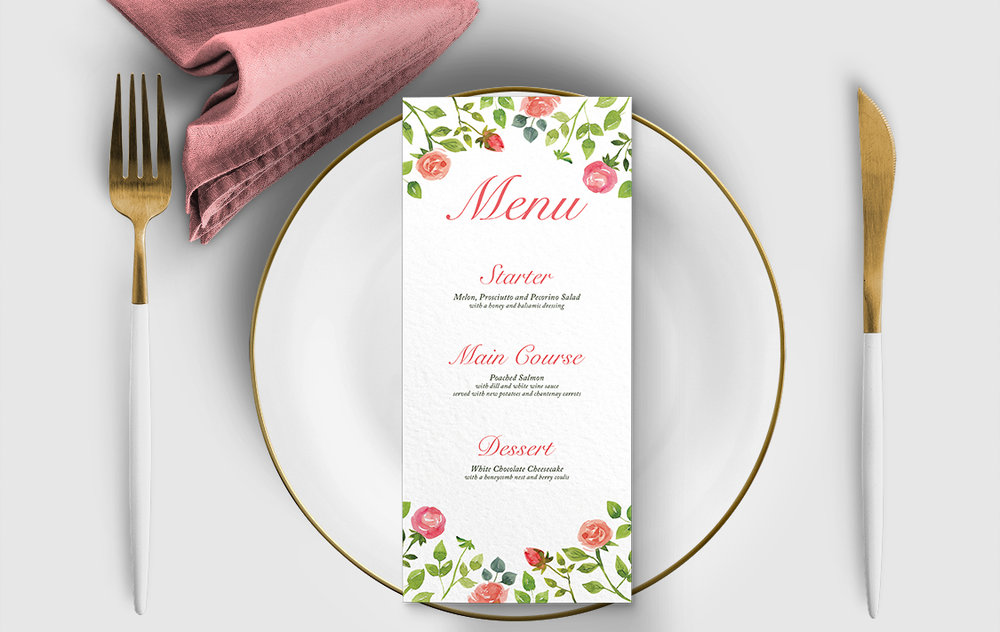 Rose Bush Menu Card - peach pink roses watercolour wedding wedding stationery suite uk - Hawthorne and Ivory