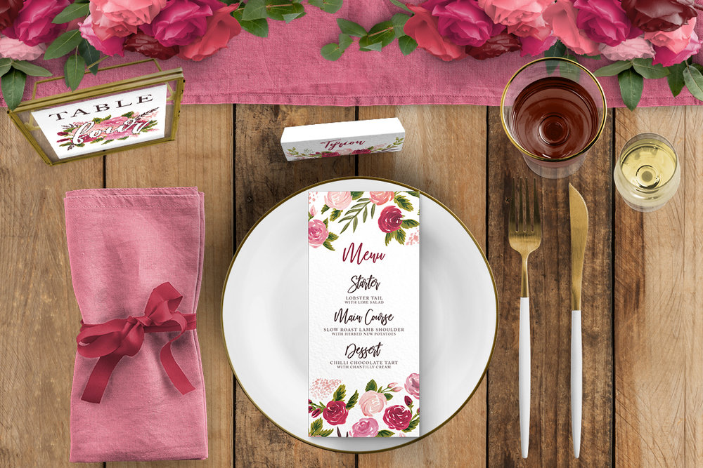 Rustic Rose Tablescape - red pink roses watercolour wedding wedding stationery place setting menu card table number uk - Hawthorne and Ivory