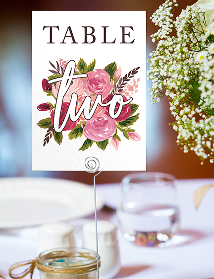 Rustic Rose Table Number - red pink roses watercolour wedding wedding stationery suite uk - Hawthorne and Ivory