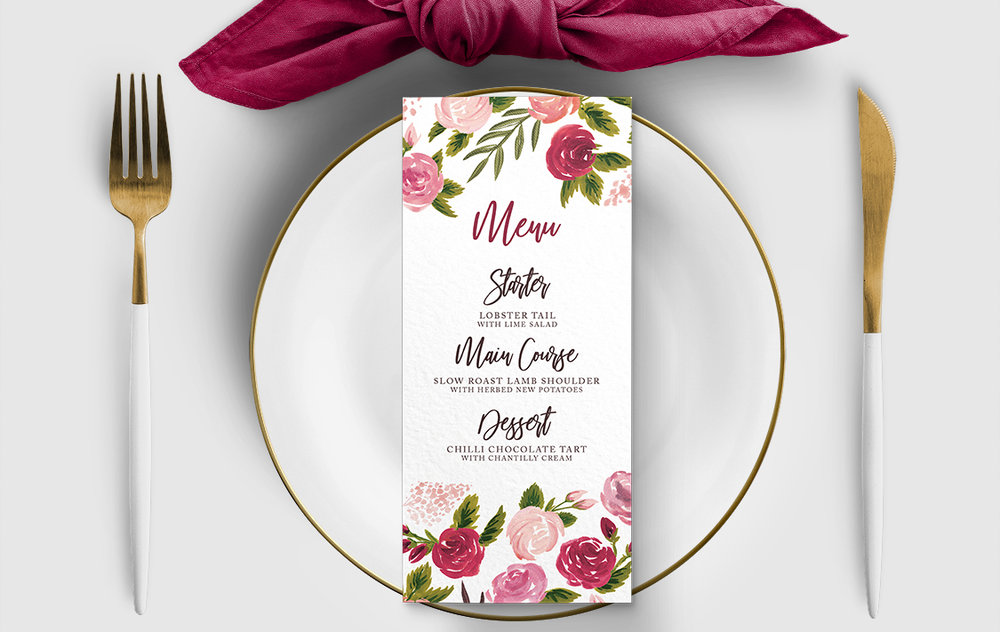 Rustic Rose Menu Card - red pink roses watercolour wedding wedding stationery suite uk - Hawthorne and Ivory