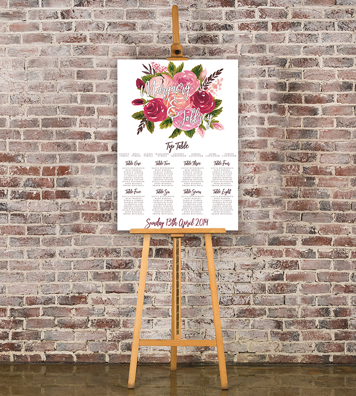 Rustic Rose Table Plan - red pink roses watercolour wedding wedding stationery seating chart uk - Hawthorne and Ivory