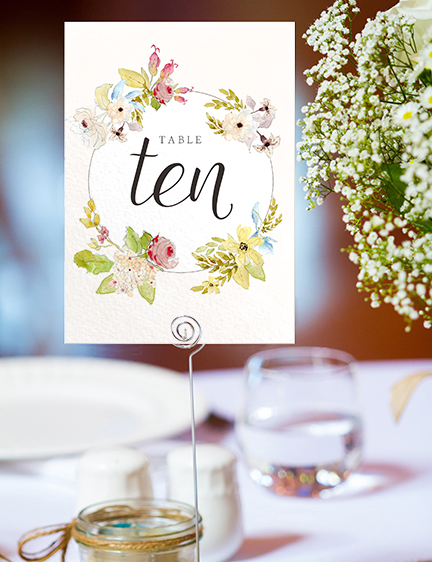 Shabby Chic Floral Table Number - watercolour flowers rose wedding wedding stationery suite uk - Hawthorne and Ivory