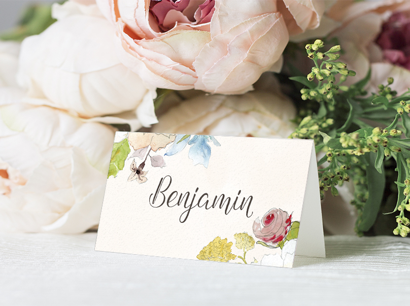 Shabby Chic Floral Placecard - watercolour flowers rose wedding wedding stationery suite uk - Hawthorne and Ivory