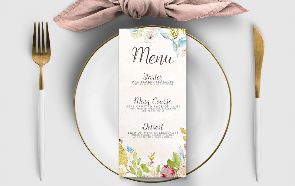 Shabby Chic Floral Menu Card - watercolour flowers rose wedding wedding stationery suite uk - Hawthorne and Ivory