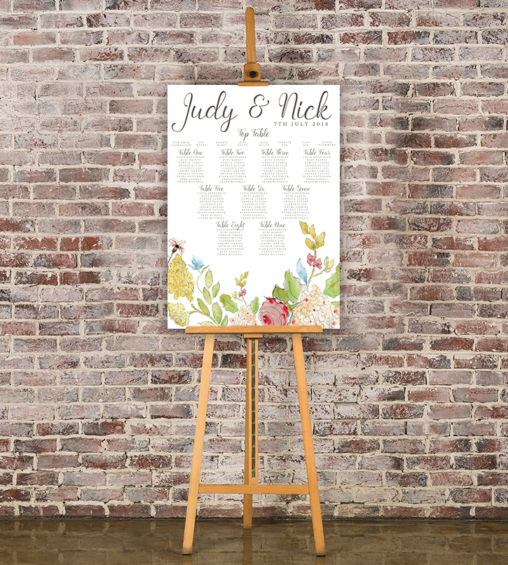 Shabby Chic Floral Table Plan - watercolour flowers rose wedding wedding stationery seating chart uk - Hawthorne and Ivory