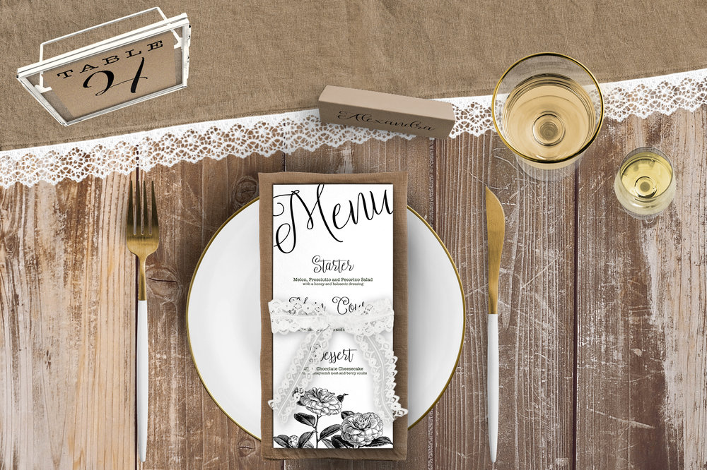 Simple Kraft Tablescape - rustic simple botanical floral wedding wedding stationery place setting menu card table number uk - Hawthorne and Ivory