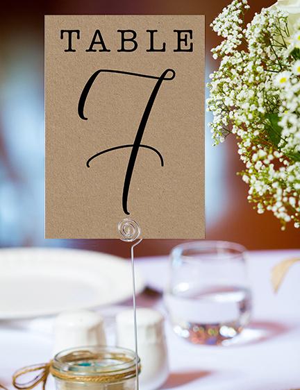 Simple Kraft Table Number - rustic simple botanical floral wedding wedding stationery suite uk - Hawthorne and Ivory