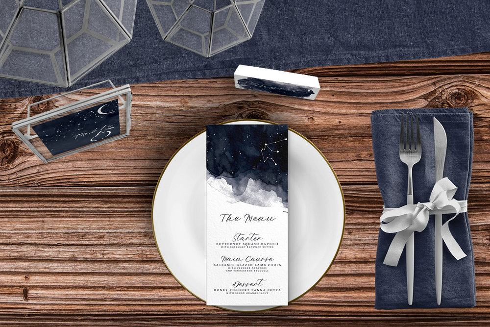Starry Night Tablescape - watercolour celestial stars constellation moon navy wedding wedding stationery place setting menu card table number uk - Hawthorne and Ivory