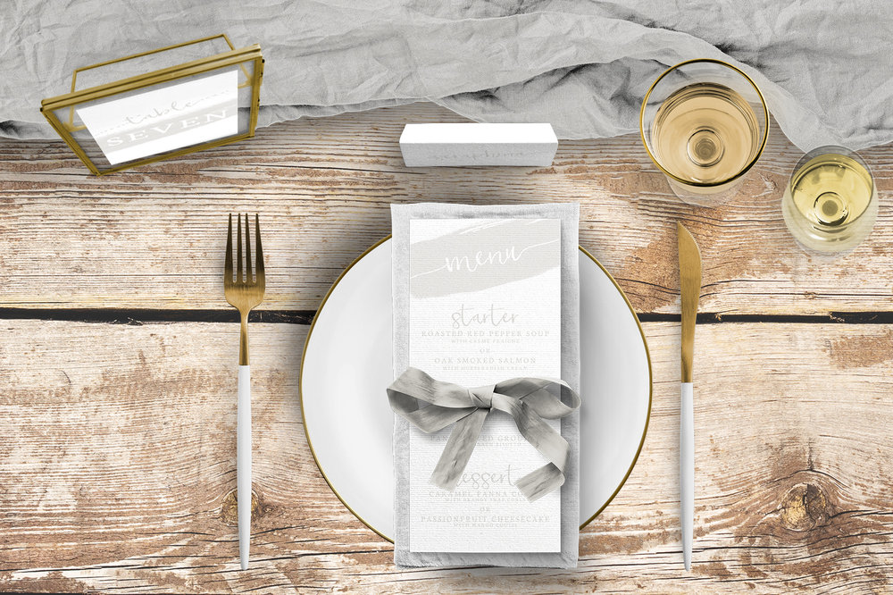 Subtle Powder White Tablescape - minimal simple pale grey wedding wedding stationery place setting menu card table number uk - Hawthorne and Ivory
