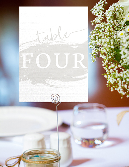 Subtle Powder White Table Number - minimal simple pale grey wedding wedding stationery suite uk - Hawthorne and Ivory