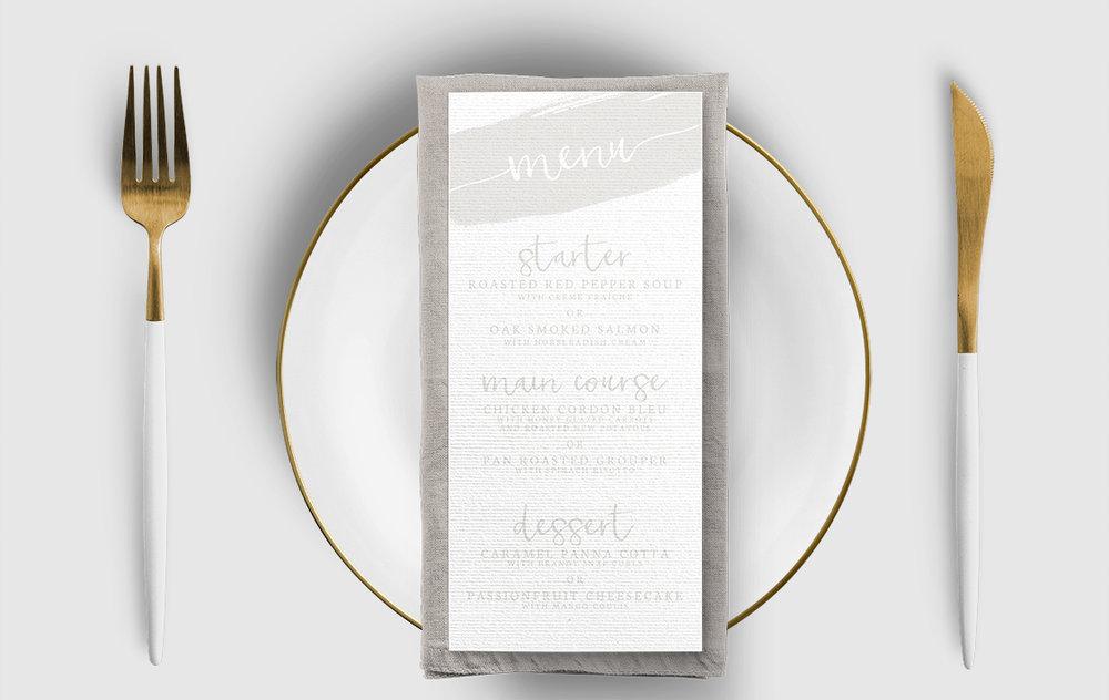 Subtle Powder White Menu Card - minimal simple pale grey wedding wedding stationery suite uk - Hawthorne and Ivory