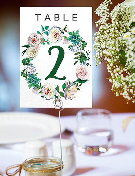 Succulent Rose Table Number - teal turquoise hydrangea eucalyptus floral wedding stationery suite uk - Hawthorne and Ivory