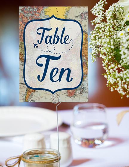 Vintage Maps Table Number - travel destination wedding stationery suite uk - Hawthorne and Ivory