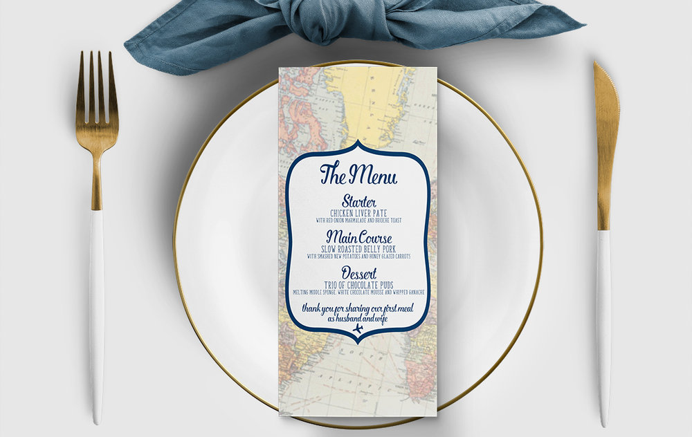 Vintage Maps Menu Card - travel destination wedding stationery suite uk - Hawthorne and Ivory