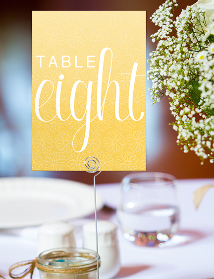 Yellow Daisy Table Number - lemon floral simple modern wedding stationery suite uk - Hawthorne and Ivory