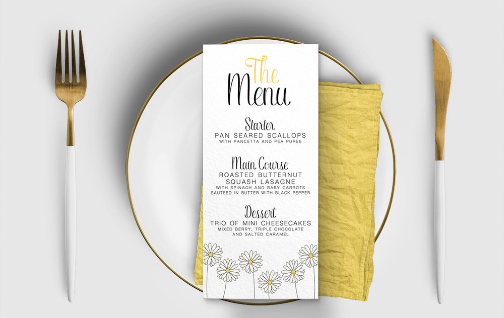 Yellow Daisy Menu Card - lemon floral simple modern wedding stationery suite uk - Hawthorne and Ivory