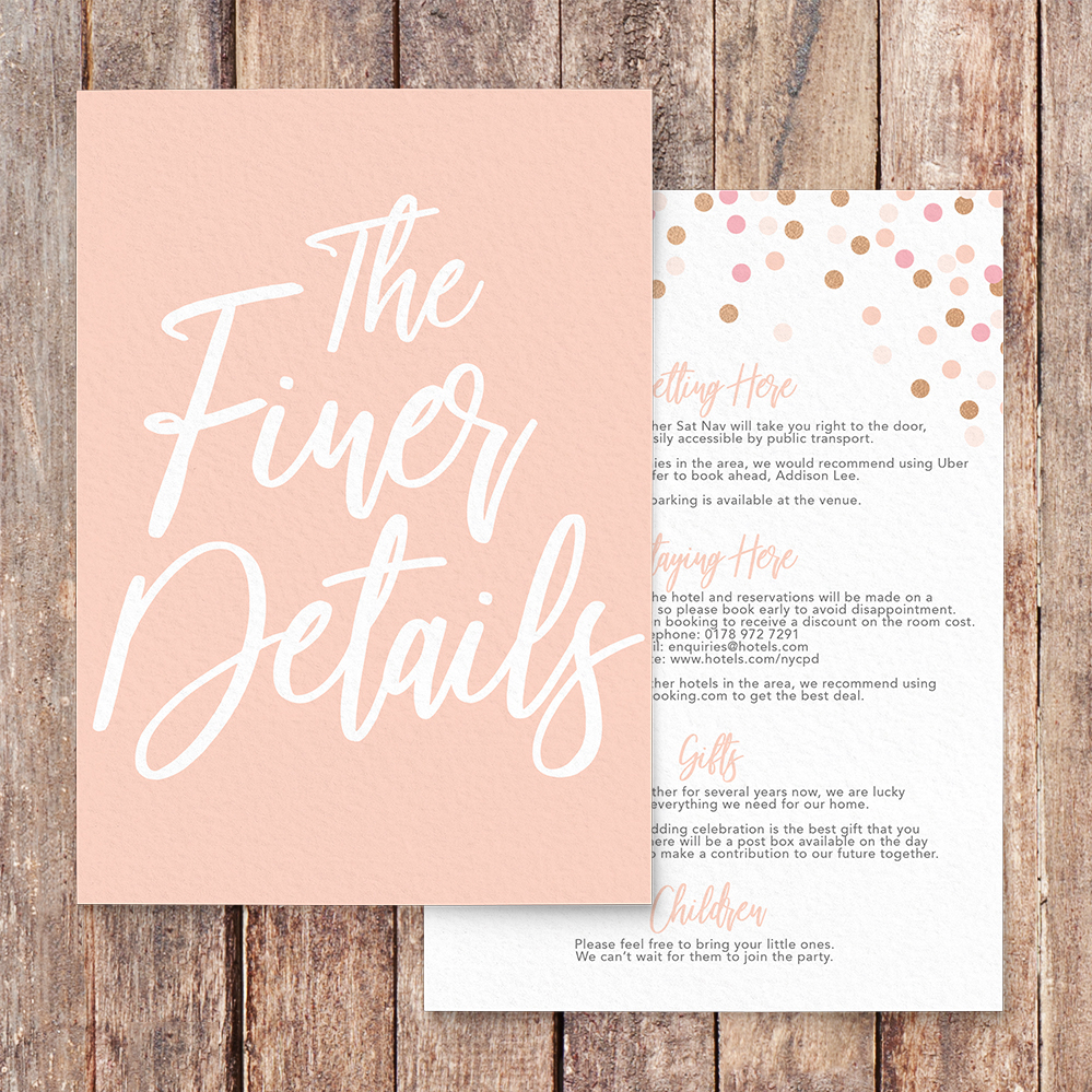 Blush Confetti Details Card - blush pink and rose gold whimsical wedding stationery suite uk - Hawthorne and Ivory