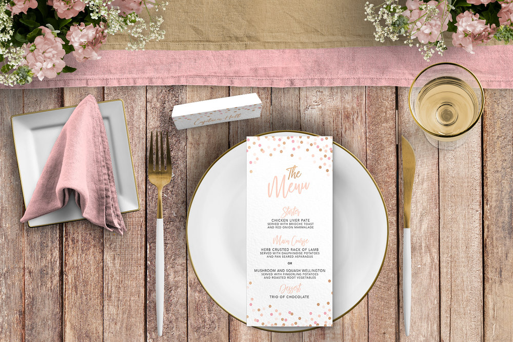 Blush Confetti Tablescape - blush pink and rose gold whimsical wedding stationery place card menu table number uk - Hawthorne and Ivory