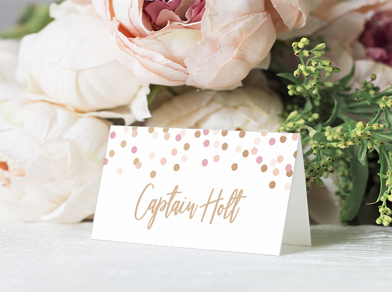 Blush Confetti Placecard - blush pink and rose gold whimsical wedding stationery suite uk - Hawthorne and Ivory