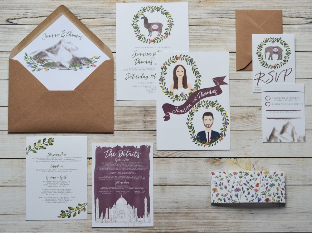 bespoke wedding stationery design travel wedding