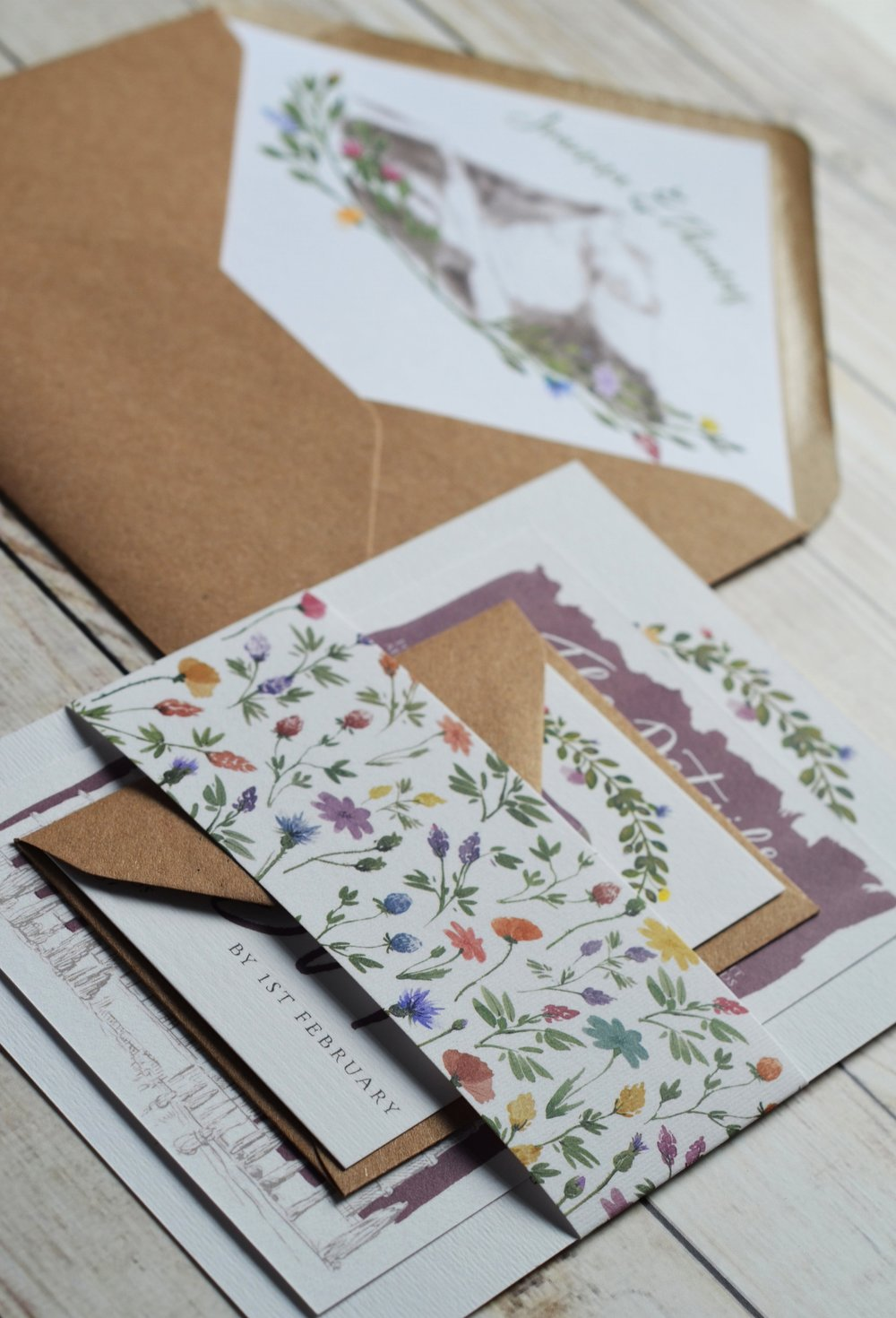 bespoke wedding stationery design illustration