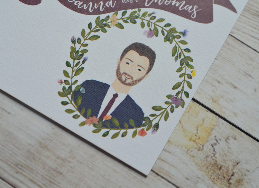 bespoke wedding stationery illustrated portrait