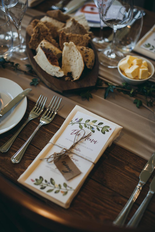 bespoke wedding stationery design menu