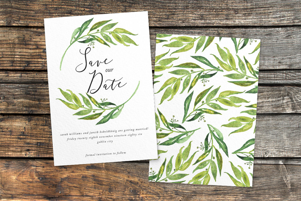 Olive Branch Save The Dates - greenery watercolour leaf greek wedding wedding stationery suite uk - Hawthorne and Ivory