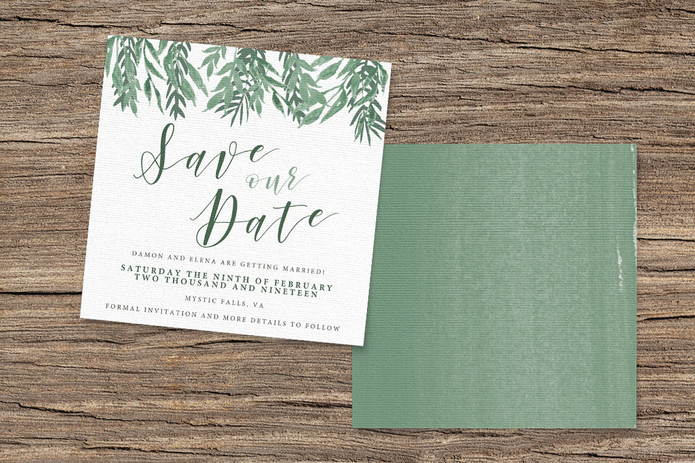 Elegant Sage Save The Dates - sage green watercolour floral wedding stationery suite uk - Hawthorne and Ivory