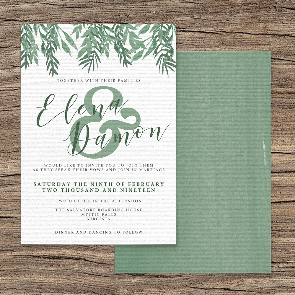 Elegant Sage Invitation - sage green watercolour floral wedding stationery suite uk - Hawthorne and Ivory