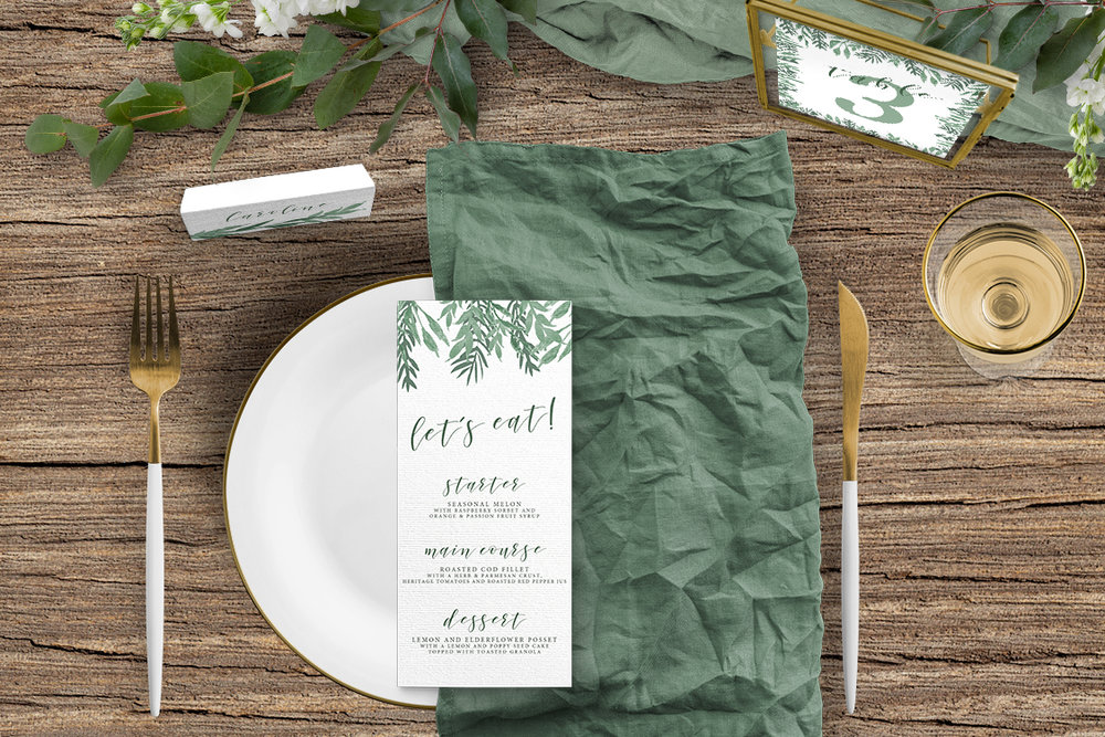 Elegant Sage Tablescape - sage green watercolour floral wedding stationery place setting menu card table number uk - Hawthorne and Ivory