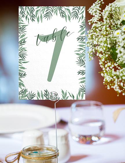 Elegant Sage Table Number - sage green watercolour floral wedding stationery suite uk - Hawthorne and Ivory